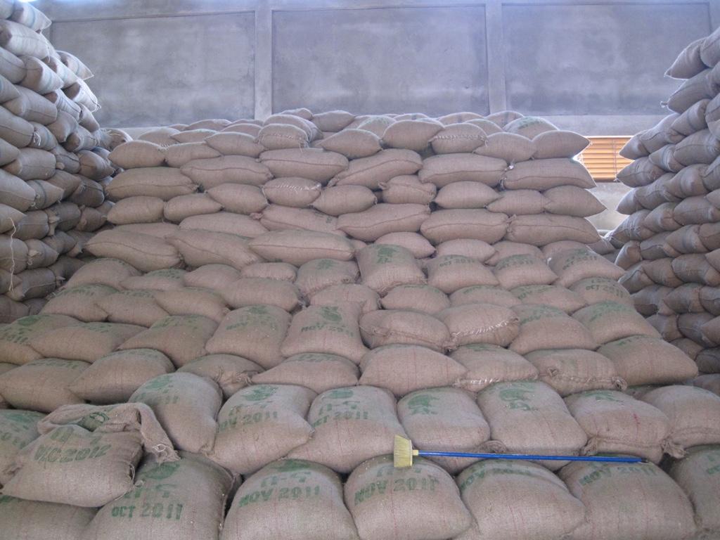 Ethiopia Yirgacheffe zakken koffie opslag